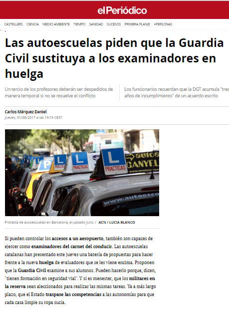 Las autoescuelas piden que la Guardia Civil sustituya a los examinadores en huelga