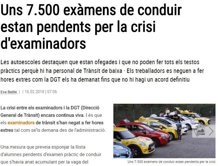 7.500 exàmens de conduir estan pendents