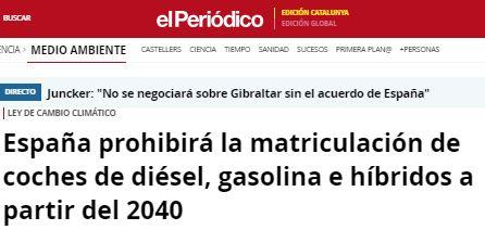 España prohibirá la matriculación de coches de diésel, gasolina e híbridos a partir del 2040